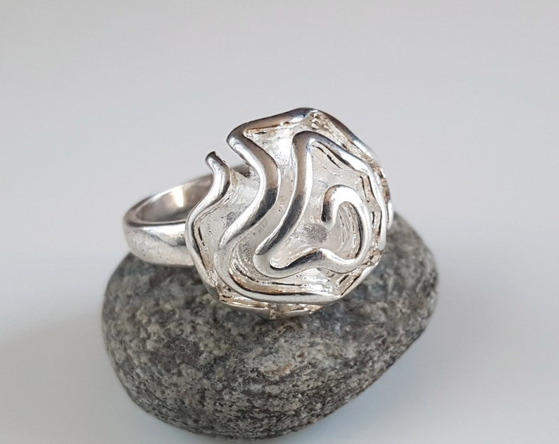 vintage ring for women floral ring Silver flower ring rose flower sterling silver ring vintage jewelry floral jewelry botanic ring