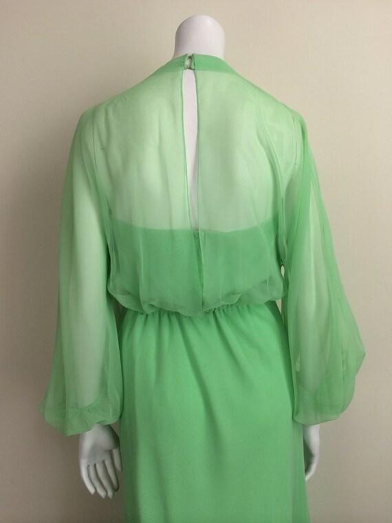 1960s Vintage Travilla Green Chiffon Formal Maxi … - image 4