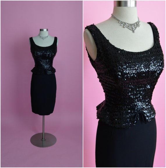 1950s Black Sequin Peplum Cocktail Wiggle Dress