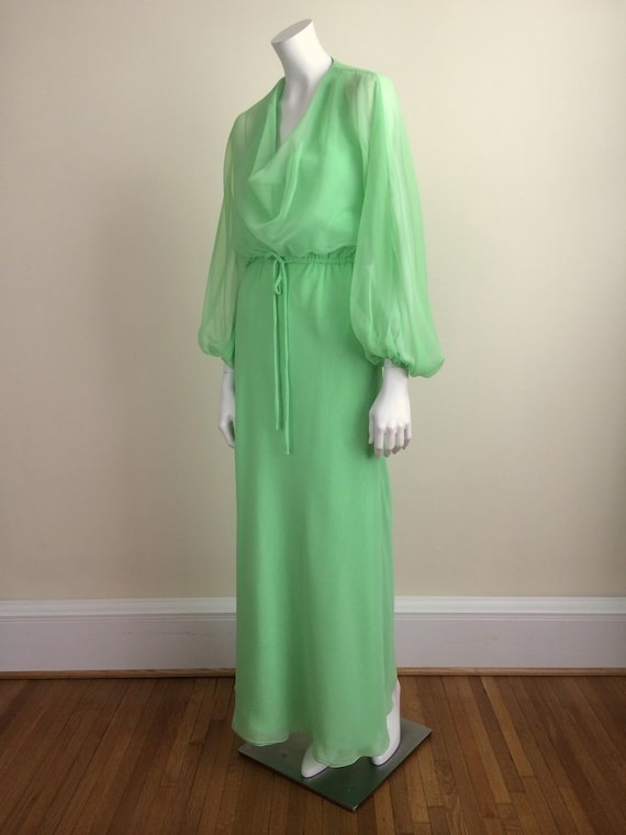 1960s Vintage Travilla Green Chiffon Formal Maxi … - image 3