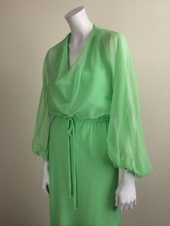 1960s Vintage Travilla Green Chiffon Formal Maxi … - image 2