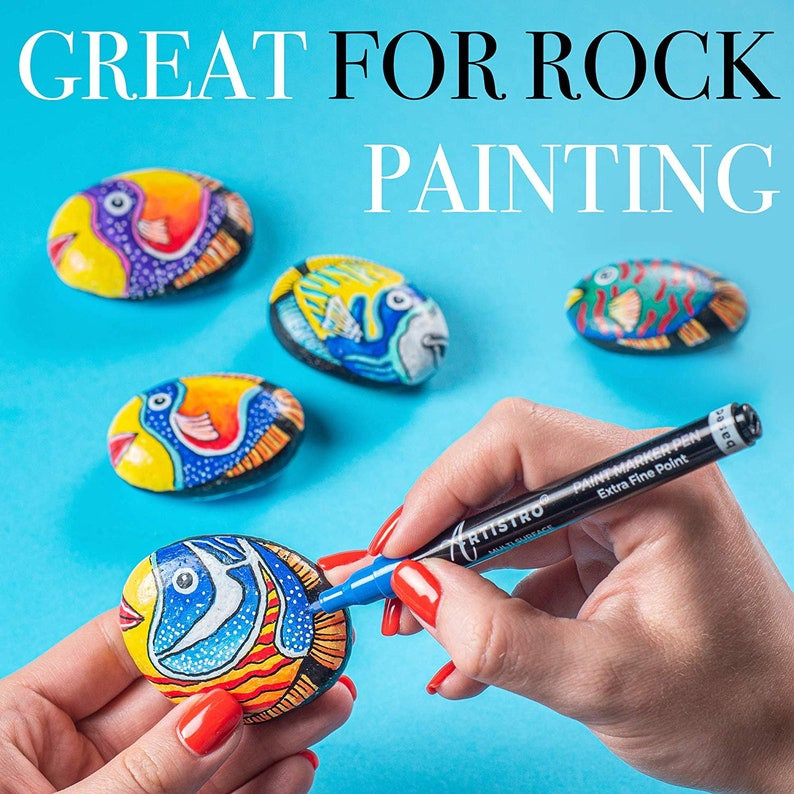 Extra Black /& White Paint Markers. Glass Wood Ceramic Mugs Fabric and more Stone Acrylic Paint Pens for Rock 28 Assorted Colors
