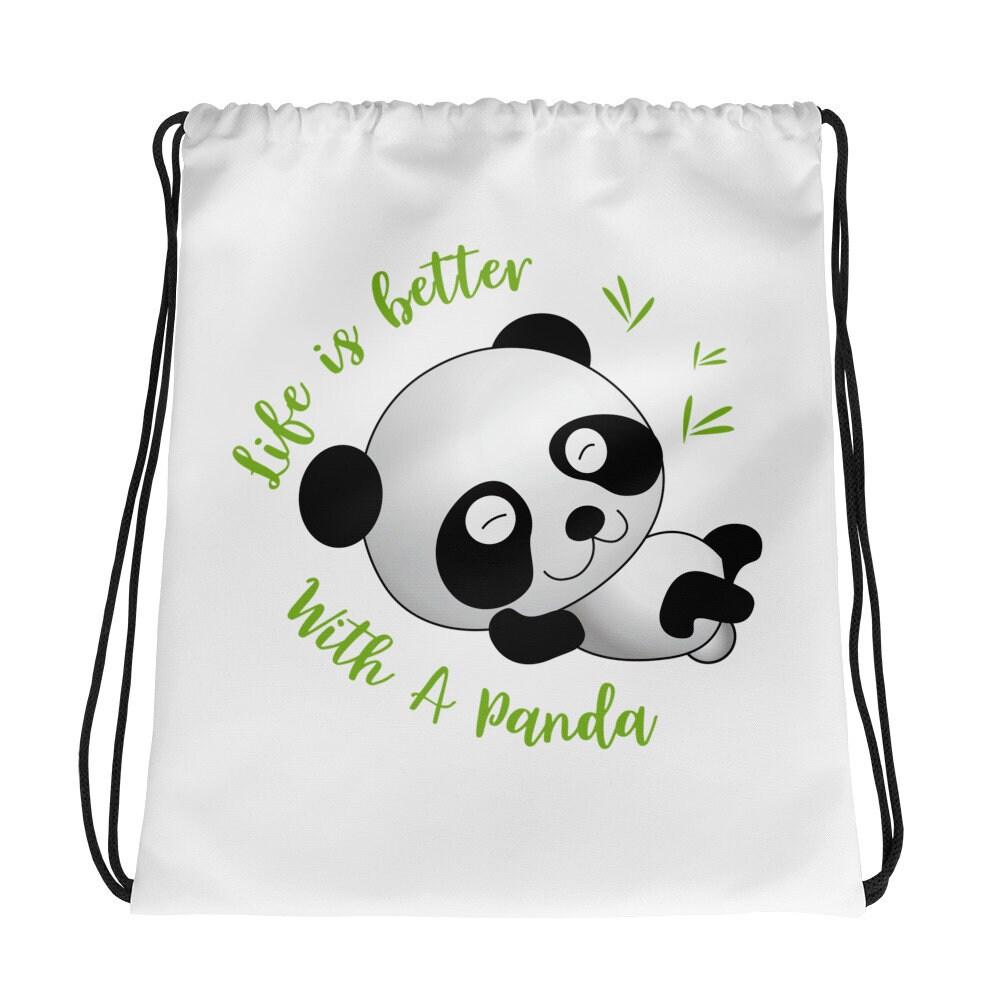 Life With A Panda Drawstring Bag Etsy Zoom