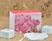 Decoupage box, trinket box, keepsake box. Casket for jewelry. Small gift box, box with flower, hand-painted box, memory box, Jewellery box