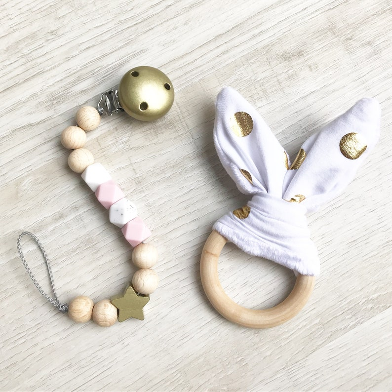 Set pacifier Gold girl and gripping