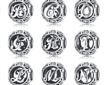 8173732b1 Sterling Silver Personalized Bracelet Charm, Alphabet A To Z Letter Bead Fits  Pandora Charms Bracelet, Name Bracelet Personalized Gift DIY