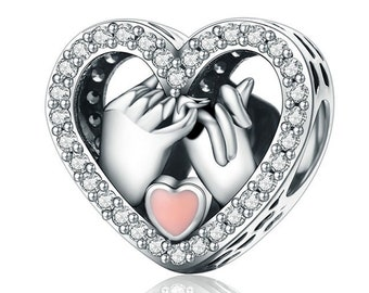 b35256cd1 Sterling Silver Pinky Promise Charm With CZ, Heart Charm Fits Pandora Charms  Bracelet, Promise Bracelet & Necklace DIY Pinky Promise Jewelry