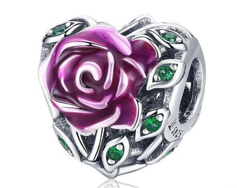 d753890e7 Sterling Silver Rose Heart Charm, CZ & Enamel, Purple Red Rose Charm Fits  Pandora Charms Bracelet, Flower Rose Necklace DIY, Rose Pendant