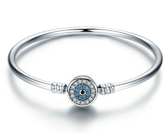 1113cded6 Evil Eye Bracelet Silver With CZ Clasp, 925 Sterling Silver Bangle Bracelet  Fits European Pandora Bracelet Charms, Evil Eye Jewelry Making