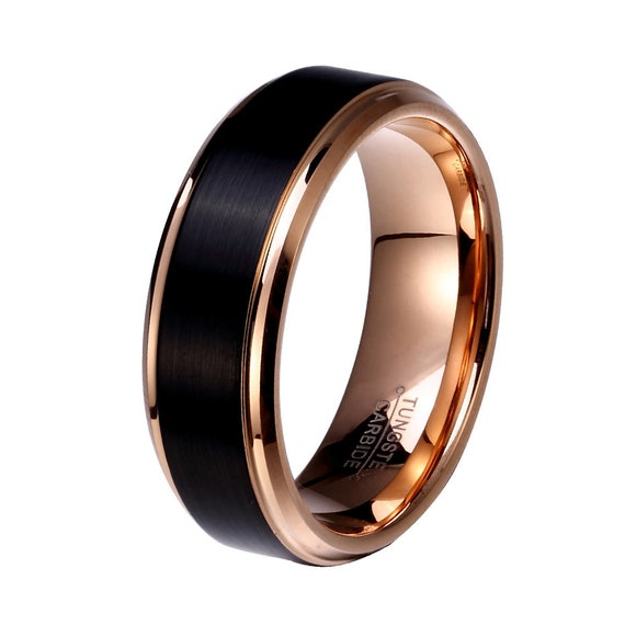 Personalized Tungsten Ring, Rose Gold & Black Wedding Band, Men Tungsten Ring, Black Tungsten Ring, Rose Gold Tungsten Ring, Couples Rings