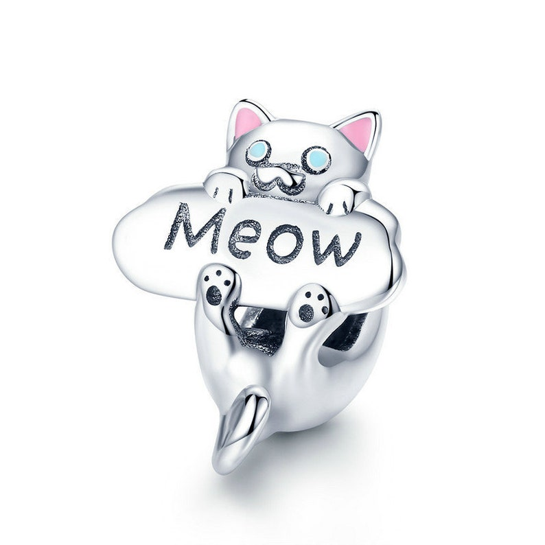 ab639388d Sterling Silver Cat Charm Bead Silver Charm Fits Pandora | Etsy
