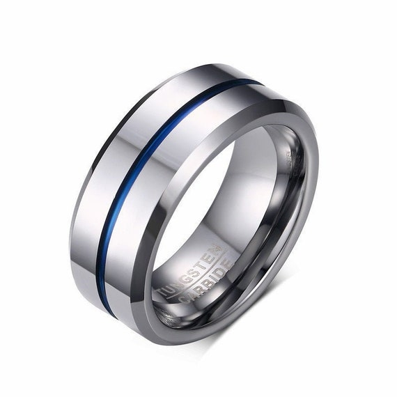 8mm Silver Tungsten Wedding Band With Blue Line, Men Tungsten Ring Band, Men Tungsten Ring, Tungsten Band, Personalized Jewelry Mens Ring