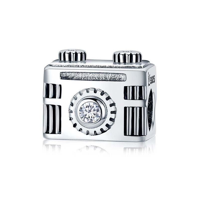 Sterling Silver Vintage Camera Charm With CZ, Silver Charm Fits Pandora  Charms Bracelet, Camera Jewelry, Camera Necklace DIY, Travel Charm
