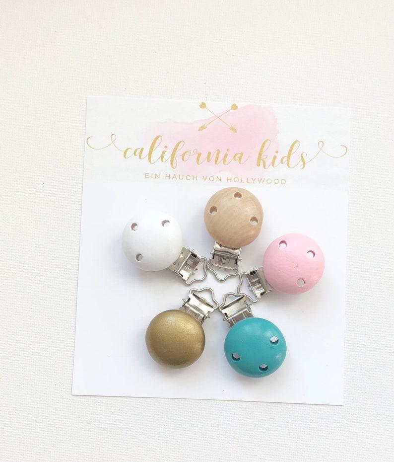Schnullerketten Clip Blau Holz Natur Gold Rosa 5 Farben zur Auswahl Schnullerband DIY Wei\u00df