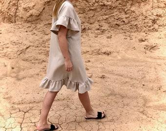 ad95b2185beb Linen dress| Summer dress| Straight silhouette| Ruffles