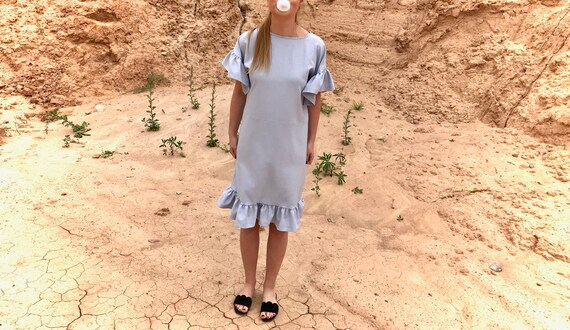 Straight dress Linen Summer dress Ruffles silhouette 7wnzP
