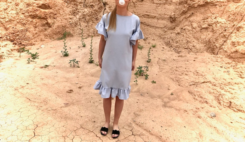 20d79ed7d9d7 Linen dress Summer dress Straight silhouette Ruffles | Etsy