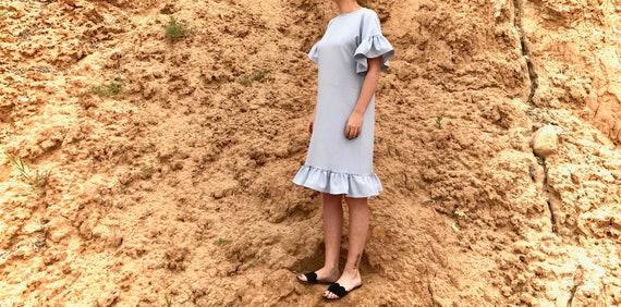 Straight dress Linen Summer dress Ruffles silhouette 7wnzP