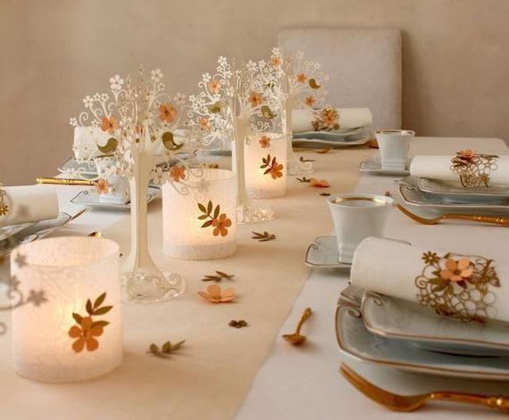 Tischdeko Hochzeit Kirschblutenbaum Weiss Apricot Etsy