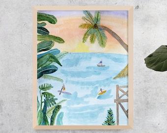 Tropical Watercolor Art, Beach Print, Surf Art, Surf Illustration, Watercolor Illustration, Tropical Illustration, Beach Sunset