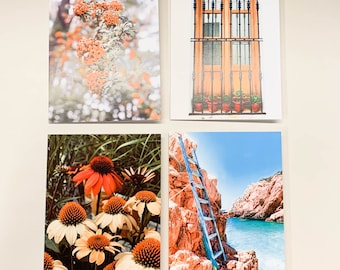 Blank Greeting Cards Set - 4 Pack - Assorted Greeting Cards, Original Photography, Thinking of You, Just Because, Cards for Friends,Handmade