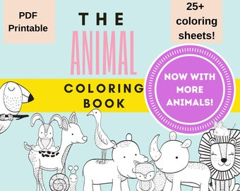 Animal Coloring Book for Kids, Printable Coloring Book for Children, Digital Download PDF, 25 pages, Wild Animals, Woodland Creatures