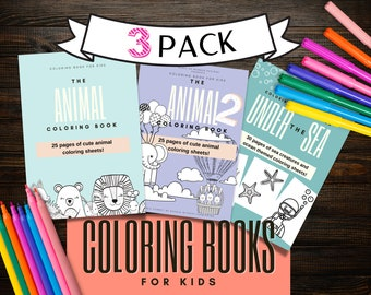 Animal Coloring Book for Kids, 3 Pack, Printable Coloring Books for Children, Digital Download PDF, 80+ coloring pages, Wild Animals