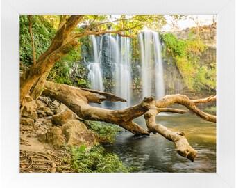 Hidden Waterfall Framed Print, Photography Print, Original Fine Art Photography, Framed Travel Print