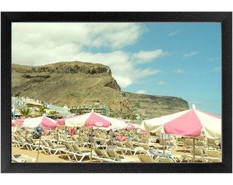 Pink Umbrellas Framed Print, Photography Print, Original Fine Art Photography, Framed Travel Print
