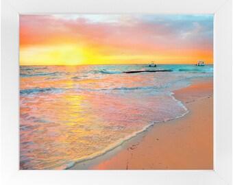 Tropical Beach Sunrise Framed Print, Beach Photography Print, Original Fine Art Photography, Framed Travel Print