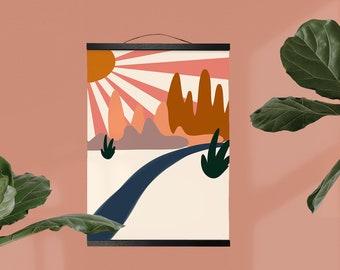 Abstract Desert Sun Wall Hanging, Canvas Art, Boho Southwest Decor, Sunrays Desert Horizon Art, Mid Century Modern Canvas Art