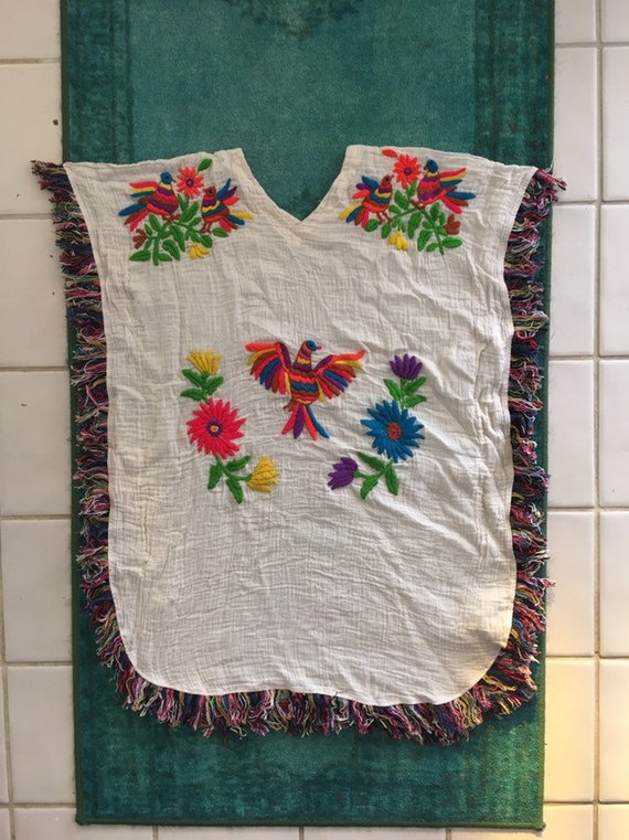 Mexican embroidered coverup, poncho, boho, hippie