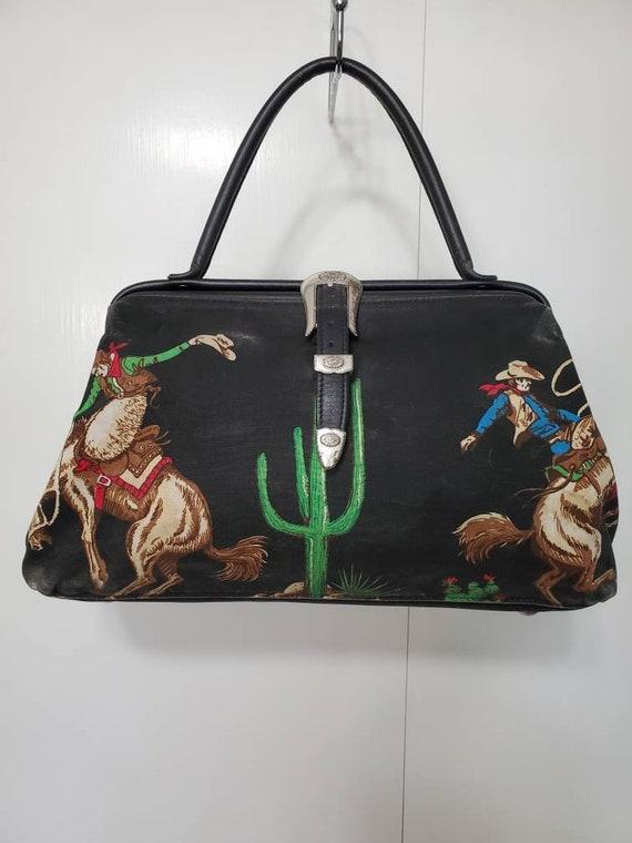 Vintage Cowboy Novelty Print Western Doctor Bag