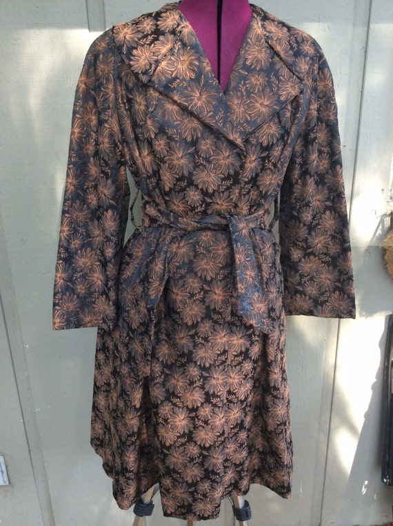 60's Floral Tapestry Wool Lined Coat
