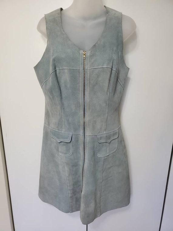 70's Light Blue Suede Mini Dress