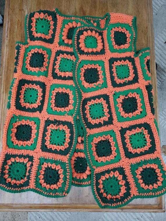 70's Hand Crochet Granny Square Vest