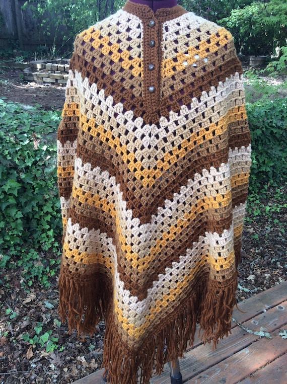 70's Handmade Crochet Bohemian Poncho