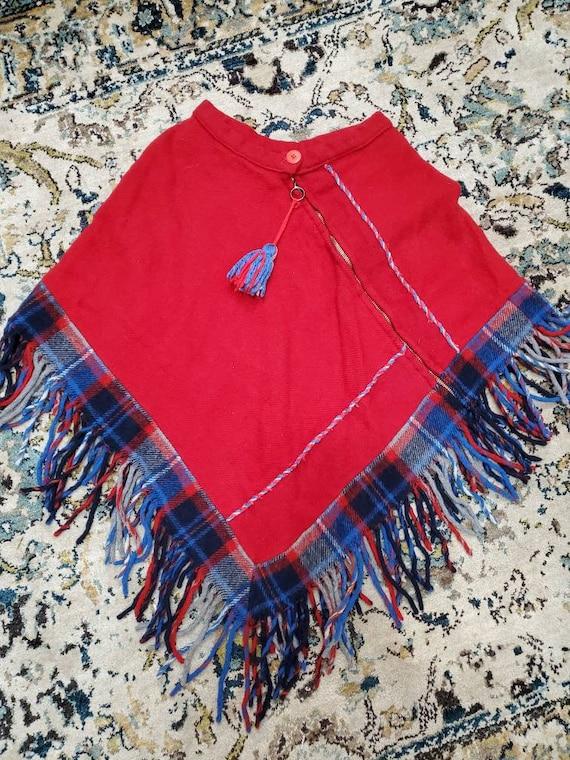 Vintage Handmade Asymmetrical Plaid Fringe Wool Ca