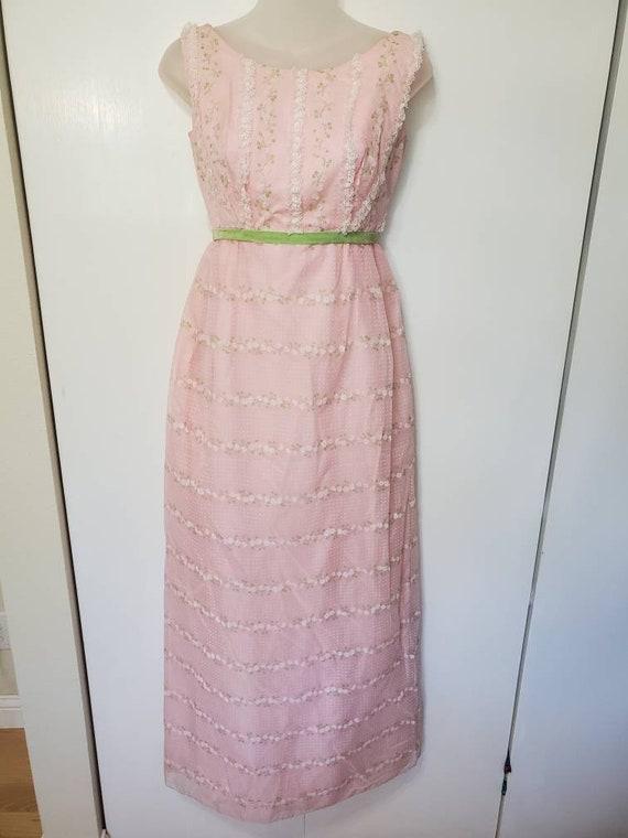 Vintage Nadine Bubblegum Flocked Floral Dress