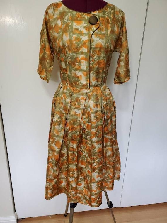 Vintage Handmade 40's Silk Floral Dress