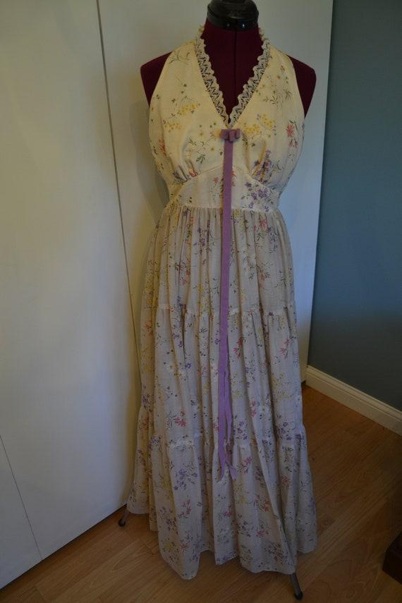 70's Nadine Halter Top Floral Prairie Dress