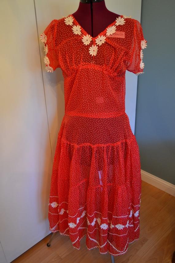 50's/60's Sheer Polka Dot Daisy Dress