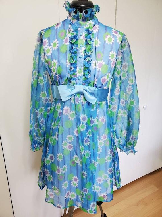70's Mod Flower Power Sheer Babydoll Dress