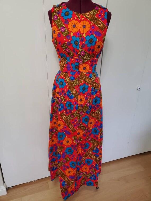 Vintage Handmade Barkcloth Neon Floral Dress