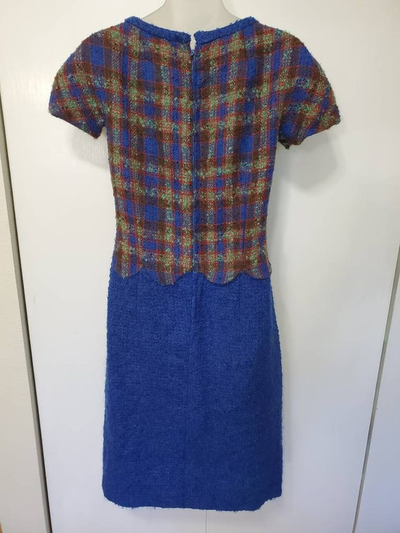 Vintage Handmade Scalloped Wool Plaid Dress
