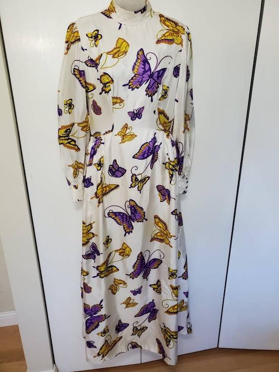 Vintage Mod Butterfly Maxi Dress