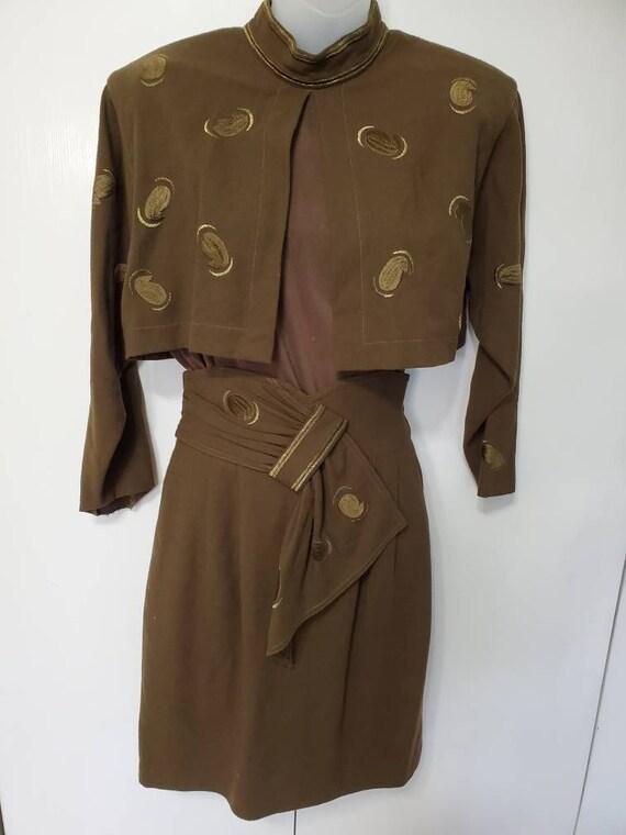 Vintage Olive 2 - Piece Mid Century Mod Skirt Set