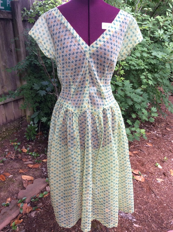 40's Green Sheer Butterfly Dress