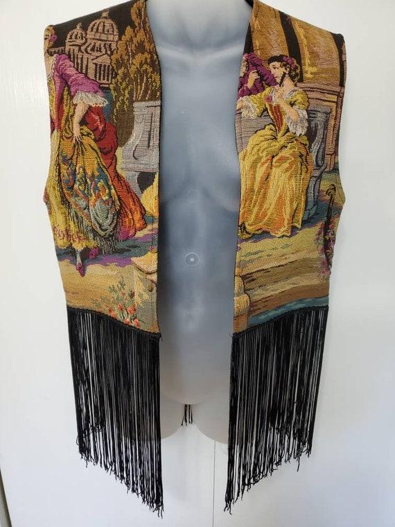 60's Renaissance Tapestry Vest with Fringe
