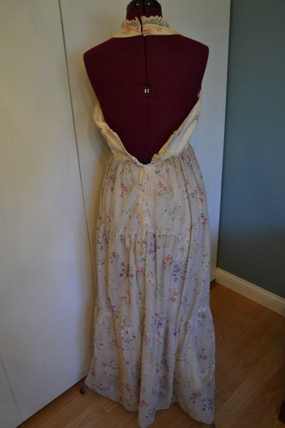 70's Nadine Halter Top Floral Prairie Dress - image 3